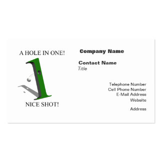 A Hole In One Golf Ball Pack Of Standard Business Cards