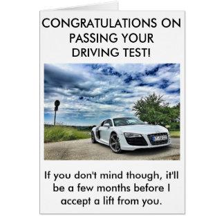 A honest driving test pass card