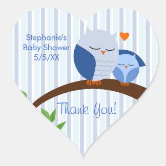 A Hoot Of A Baby Shower Blue Heart Sticker