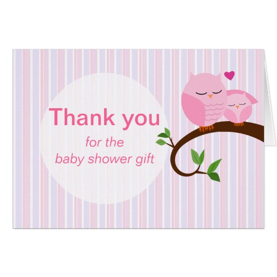 A Hoot Of A Baby Shower Pink Owls Thank You Card
