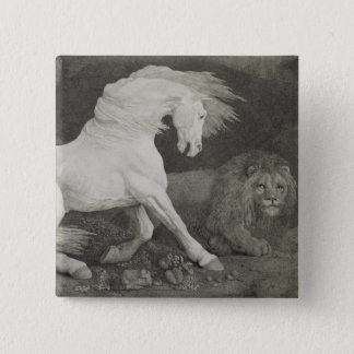 A Horse Affrighted by a Lion, engraved by the arti 15 Cm Square Badge