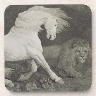 A Horse Affrighted by a Lion, engraved by the arti Coaster