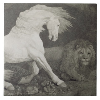 A Horse Affrighted by a Lion, engraved by the arti Tile