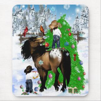 A Horse and Kid Christmas Mousepad