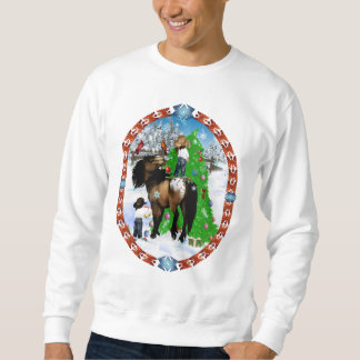 A Horse and Kid Christmas Oval Shirts