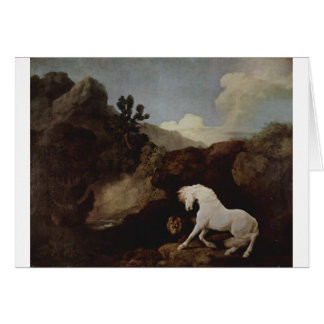 A Horse Frightened by a Lion by George Stubbs Greeting Card