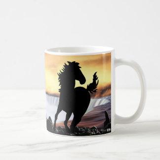 A horse silhouette and waterfall basic white mug