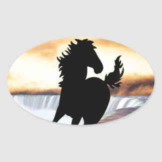 A horse silhouette and waterfall oval sticker