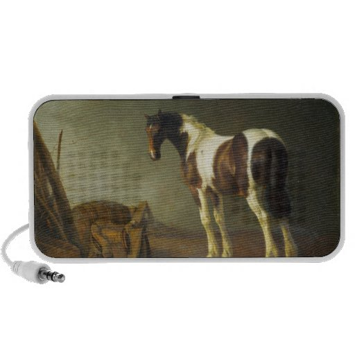 A Horse with a Saddle Beside It by Abraham Calraet Laptop Speaker