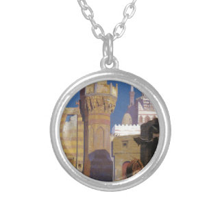 A Hot Day in Cairo (front of the Mosque) by Jean-L Round Pendant Necklace