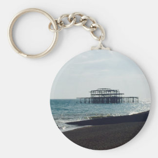 A Hot Summers Day - Brighton West Pier Basic Round Button Key Ring