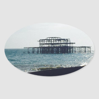 A Hot Summers Day - Brighton West Pier Oval Sticker