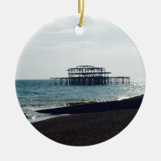 A Hot Summers Day - Brighton West Pier Round Ceramic Decoration
