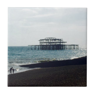 A Hot Summers Day - Brighton West Pier Small Square Tile
