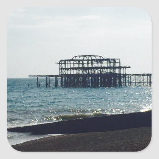 A Hot Summers Day - Brighton West Pier Square Sticker