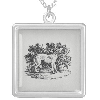 A Hound from 'History of Quadrupeds' Silver Plated Necklace