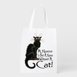"""""""A House IS Not A Home Without A Cat"""" - Grocery Ba Reusable Grocery Bag"""