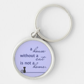 A house without a cat is not a home. Silver-Colored round key ring