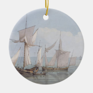 A Hoy and a Lugger with other Shipping on a Calm S Round Ceramic Decoration