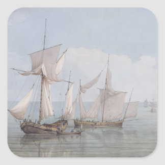 A Hoy and a Lugger with other Shipping on a Calm S Square Sticker