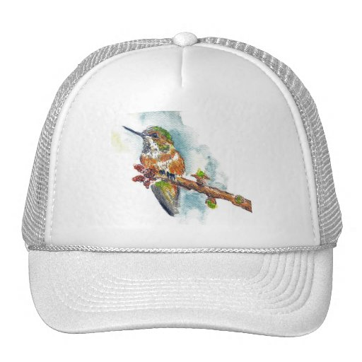 A Hummingbird, watercolor pencil drawing Trucker Hat