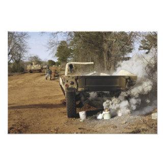 A humvee burns photo print