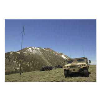 A Humvee is parked at the re-transmitting site Photo Print
