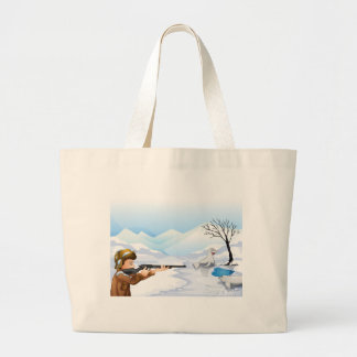 A hunter in a snowy season jumbo tote bag