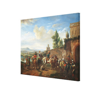 A Hunting Party by a Country House (oil on canvas) Canvas Print