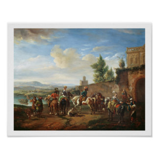 A Hunting Party by a Country House oil on canvas Print