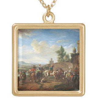 A Hunting Party by a Country House (oil on canvas) Square Pendant Necklace
