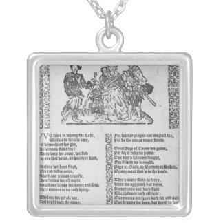 A hunting scene silver plated necklace