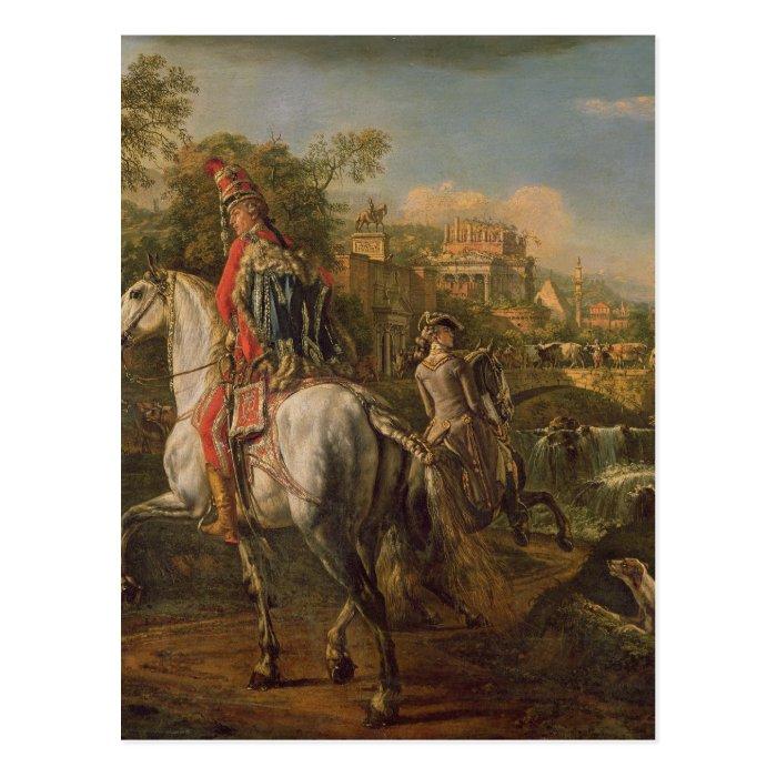 A Hussar on horseback, 1773 Postcard