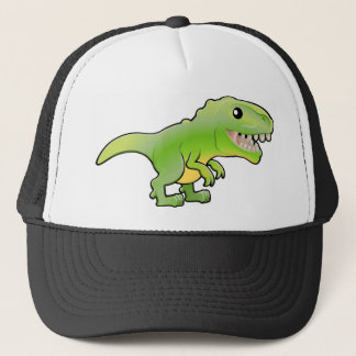 A illustration of a cute tyrannosaurus rex dinosau trucker hat