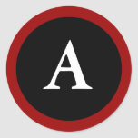 A : Initial A Letter A Red, White & Black Sticker