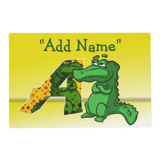 """A"" Initial Alligator Artmat Laminated Placemat"