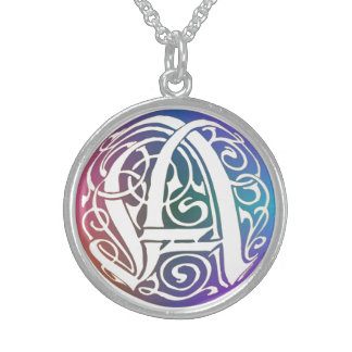 """A Initial Monogram """"Blue Gothic Whimsy"""" Necklace Pendants"""