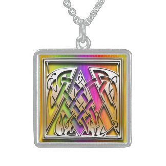 A Initial Monogram Celtic Rainbow Necklace Custom Necklace