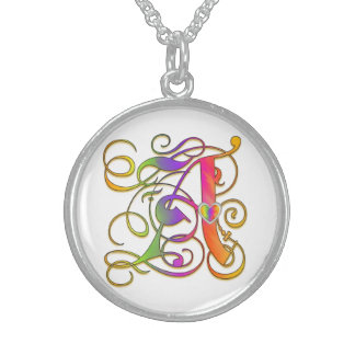 A Initial Monogram Gothic Sunshine Necklaces Sterling Silver Necklaces