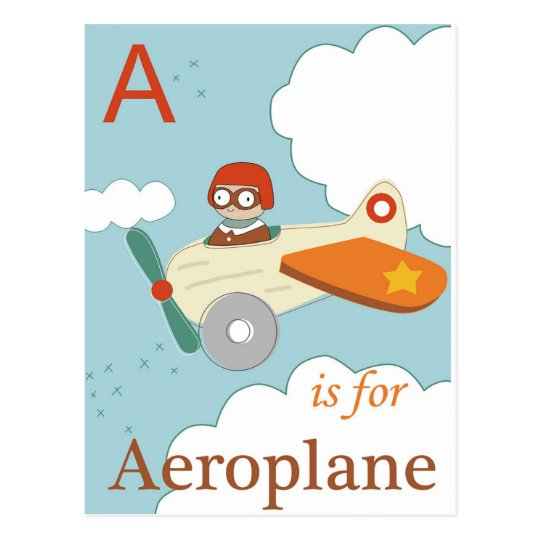 A is for Aeroplane Postcard