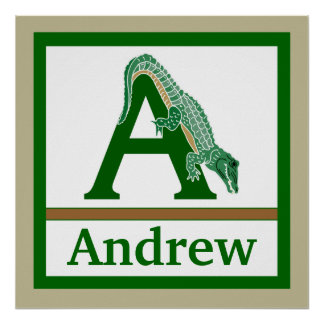 A is for Alligator and Boy Name Wall Art for Kids Poster