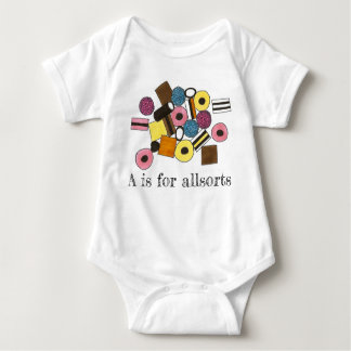 A is for Allsorts Licorice All Sorts Candy Sweets Baby Bodysuit
