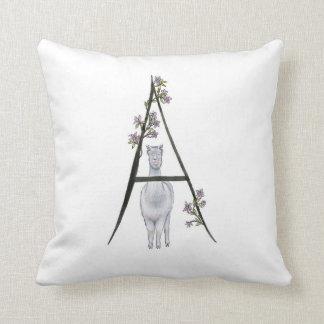 A is for Alpaca & Azaleas Pillow! Cushion