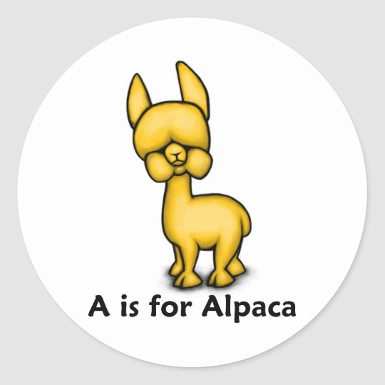 A is for Alpaca Classic Round Sticker