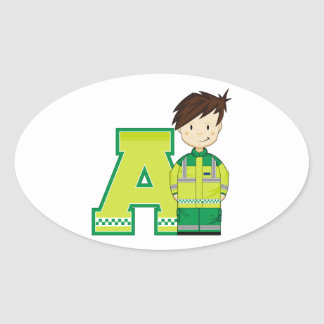 A is for Ambulance Man Oval Sticker
