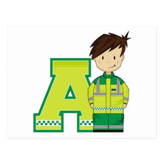 A is for Ambulance Man Postcard