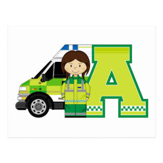 A is for Ambulance Postcard