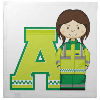 A is for Ambulance Woman Napkin