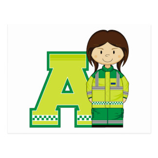 A is for Ambulance Woman Postcard