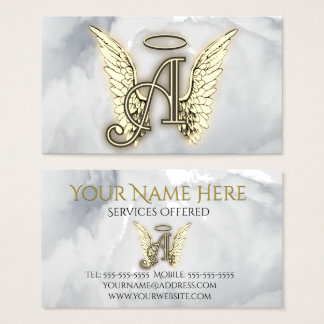 A is For Angel Alphabet Letter Initial Business Card